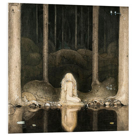 Foam board print  Princess Tuvstarr gazing down into the dark waters of the forest tarn - John Bauer