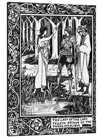 Aluminium print  The Lady of the Lake and Arthur - Aubrey Vincent Beardsley