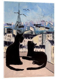 Acrylic print  Cats and doves over Paris - JIEL
