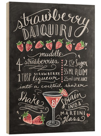Wood print  Strawberry Daiquiri recipe - Lily & Val