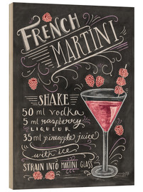 Wood print  French Raspberry Martini recipe - Lily & Val