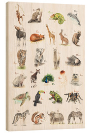 Wood print  ABC animals (German) - Nadine Conrad