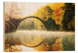 Wood print  Foggy Rakotzbridge - Marcus Klepper