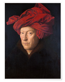 Premium poster  Man with a red turban - Jan van Eyck