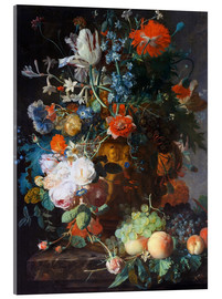 Acrylic print  Still Life with Flowers and Fruit - Jan van Huysum