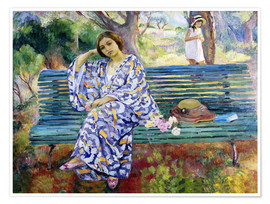 Premium poster Young woman sitting on a bench