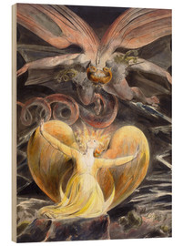 Wood print  The great red dragon and the woman clothed with sun - William Blake