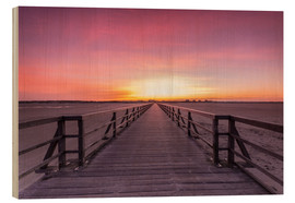 Wood print  Long jetty at the beach of St. Peter Ording - Dennis Stracke
