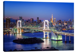 Canvas  Tokyo Rainbow Bridge with Tokyo tower at night - Jan Christopher Becke