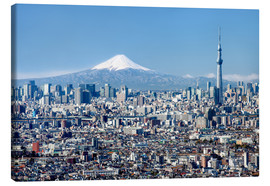 Canvas  Tokyo Skyline with Mt Fuji and Skytree and Shinjuku - Jan Christopher Becke