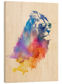 Wood print  Colorful lion - Robert Farkas