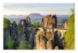 Premium poster  Bastei Bridge in Saxon Switzerland in the morning - Michael Valjak