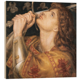 Wood print  Knight with sword - Dante Charles Gabriel Rossetti