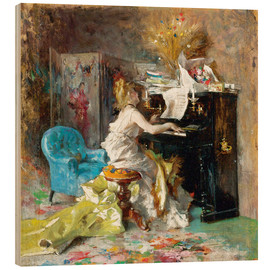 Wood print  Woman at a piano - Giovanni Boldini