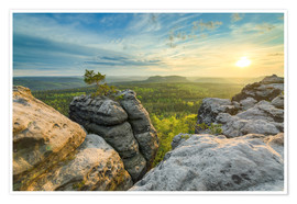 Premium poster Sunset on Gohrisch in Saxon Switzerland