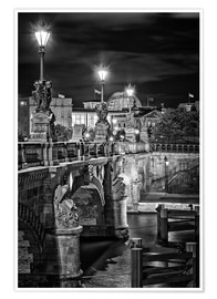 Premium poster Berlin Black & White Bridge