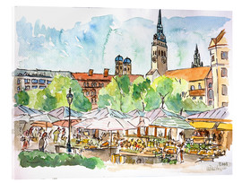 Acrylic print  Munich Food Market Square Day in Summer Aquarell - M. Bleichner