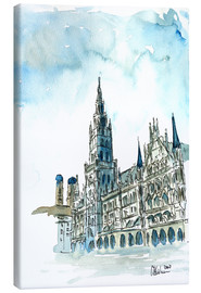 Canvas  Munich City Hall Aquarell - M. Bleichner