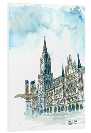 Foam board print  Munich City Hall Aquarell - M. Bleichner