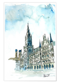 Premium poster Munich City Hall Aquarell
