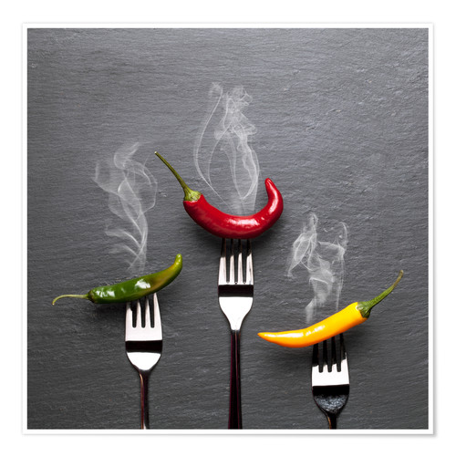 Premium poster steaming colorful chili peppers