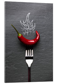 Acrylic print  red chili peppers with fire - pixelliebe