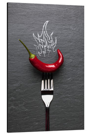 Aluminium print  red chili peppers with fire - pixelliebe