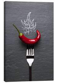 Canvas print  red chili peppers with fire - pixelliebe