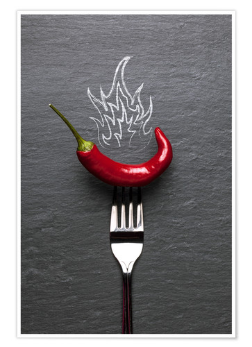 Premium poster red chili peppers with fire
