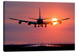 Canvas print  Aeroplane landing at sunset - David Nunuk