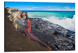 Aluminium print  Lava flowing into ocean, Hawaii - David Nunuk