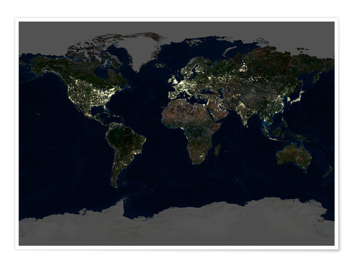 Premium poster Whole Earth at night