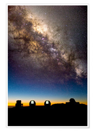 Premium poster  Mauna Kea telescopes and Milky Way - David Nunuk