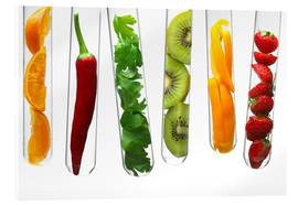 Acrylic glass  Fruit and vegetables in test tubes