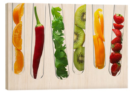 Wood print  Fruit and vegetables in test tubes