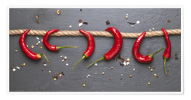Premium poster red hot chilli peppers with spice
