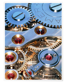 Premium poster Internal cogs and gears of a 17-jewel Swiss watch