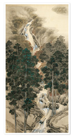 Premium poster Waterfall in spring and autumn