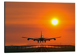 Aluminium print  Aeroplane landing at sunset - David Nunuk