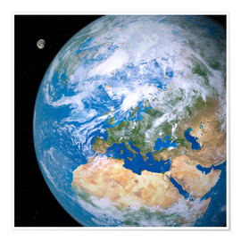 Premium poster  Earth and the Moon from space - Detlev van Ravenswaay