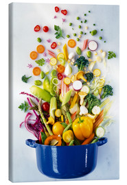 Canvas print  Vegetables falling into a pot