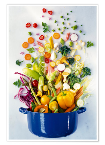 Poster Vegetables falling into a pot