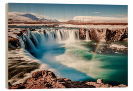 Wood print  winter wonderland Iceland: Godafoss - Sascha Kilmer