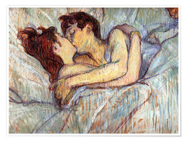 Poster  In Bed The Kiss - Henri de Toulouse-Lautrec