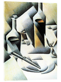 Acrylic print  Still Life with bottles and knives - Juan Gris