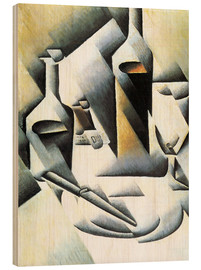 Wood print  Still Life with bottles and knives - Juan Gris
