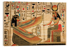 Wood print  Papyrus with Egyptian characters