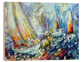 Wood print  Sailboats in storm - Theheartofart Gena