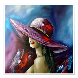 Premium poster  Lady with Hat - Theheartofart Gena
