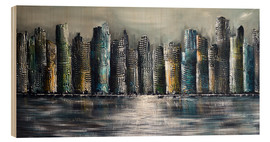Wood print  Skylines at night II - Theheartofart Gena
